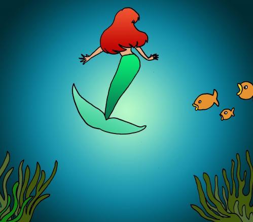 illustration La mer et la petite sirène
